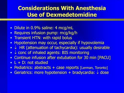PPT - Clinical Use of Dexmedetomidine PowerPoint