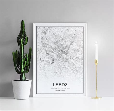 Poster with Leeds map, black and white – desenio
