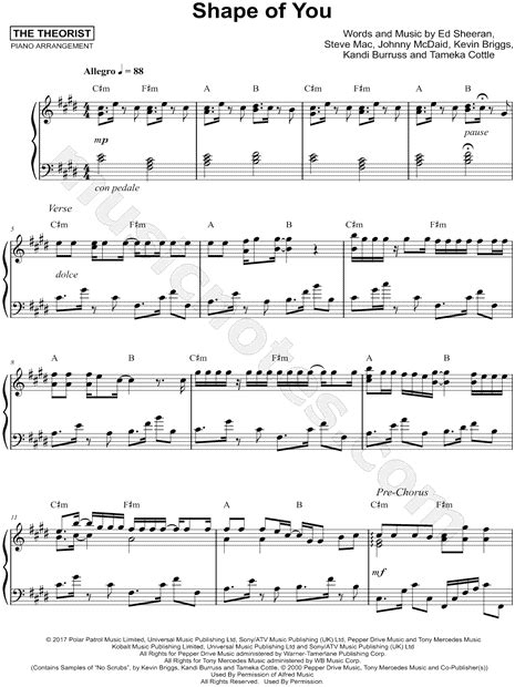 """The Theorist """"Shape of You"""" Sheet Music (Piano Solo) in C#"""