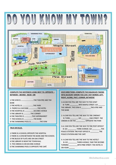 DO YOU KNOW MY TOWN? worksheet - Free ESL printable