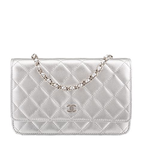 Chanel Silver Quilted Lambskin Wallet On Chain (WOC