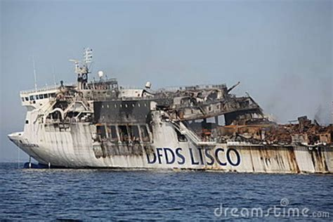 DFDS Ferry Lisco Gloria Burning Editorial Photography