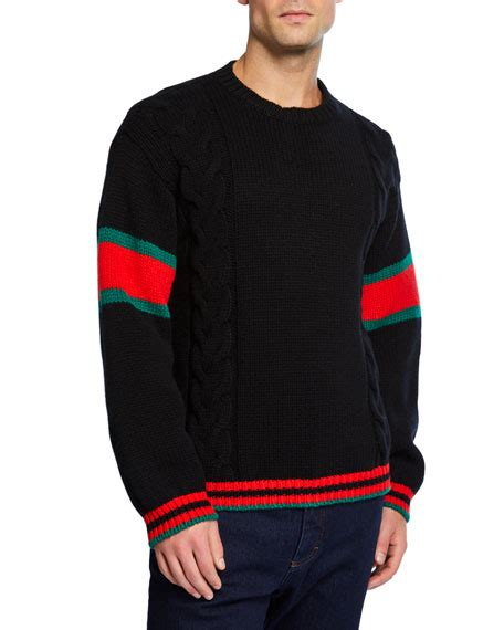 Gucci Men's Sweater with Striped Sleeves | Neiman Marcus