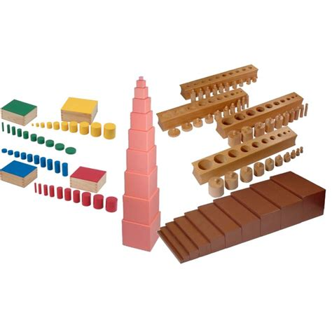 Brown stairs, Cylinder blocks, Pink Tower, Knobless