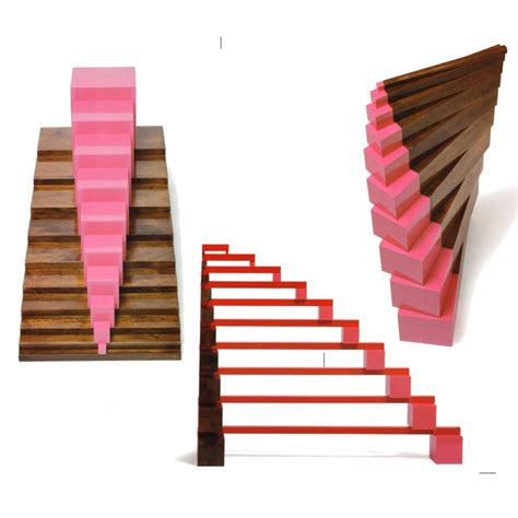 SET Pink Tower Brown Stairs Long Red Rods Exercise cards