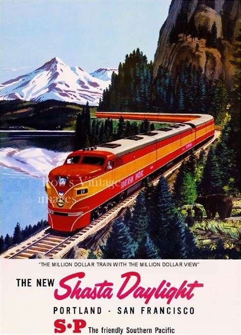 Southern Pacific Railroad Shasta Daylight AD Poster SP