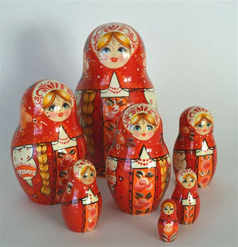 Vintage Russian Nesting Dolls 7 Eggs Carved Wood Painted