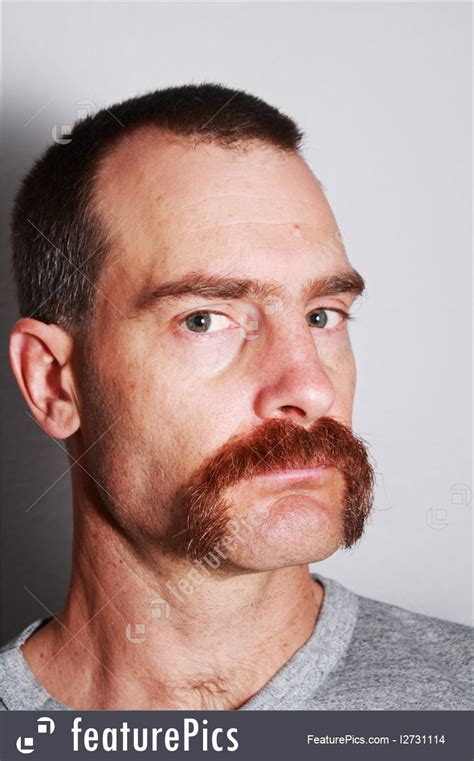 People: Man With Mustache Portrait - Stock Image I2731114