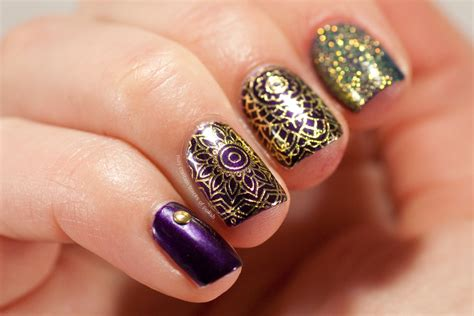 Purple and Gold Nails - May contain traces of polish
