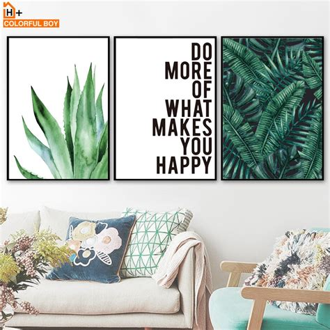 Green Watercolor Leaves Plant Quote Wall Art Canvas